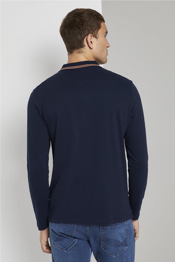 Tom Tailor ανδρική πόλο μπλούζα με κεντημένο λογότυπο και ριγέ λεπτομέρειες 2