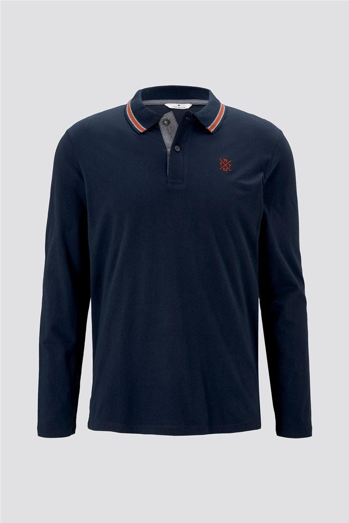 Tom Tailor ανδρική πόλο μπλούζα με κεντημένο λογότυπο και ριγέ λεπτομέρειες 4