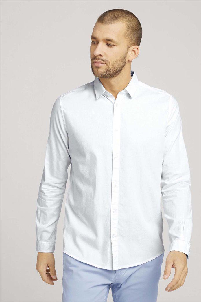 Tom Tailor ανδρικό πουκάμισο μονόχρωμο Slim Fit Γαλάζιο 0