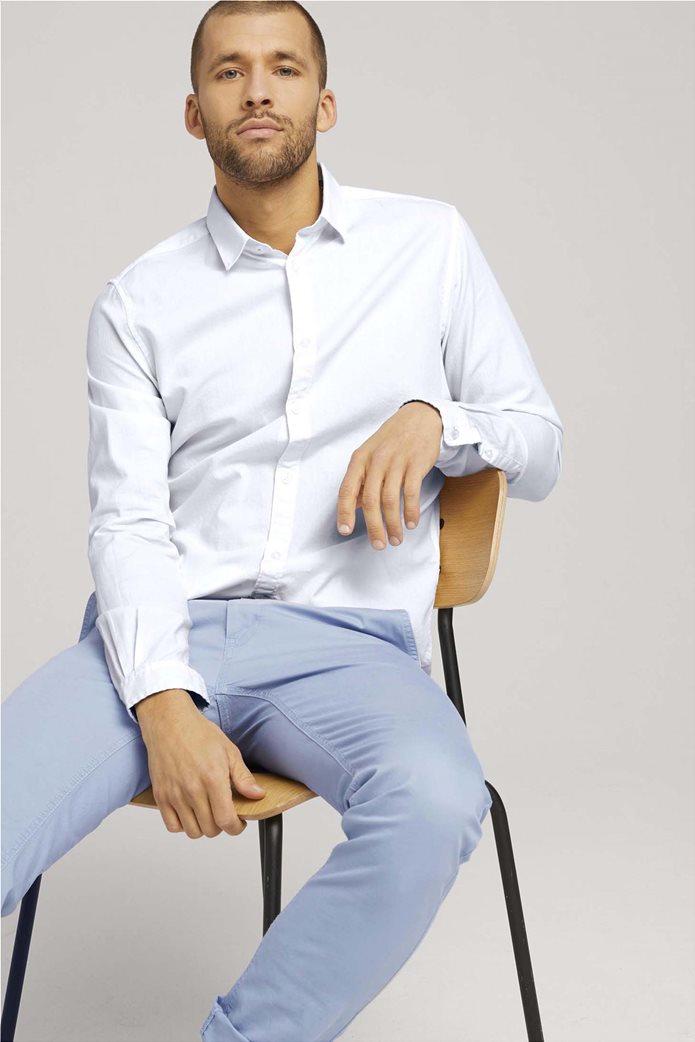 Tom Tailor ανδρικό πουκάμισο μονόχρωμο Slim Fit Γαλάζιο 1