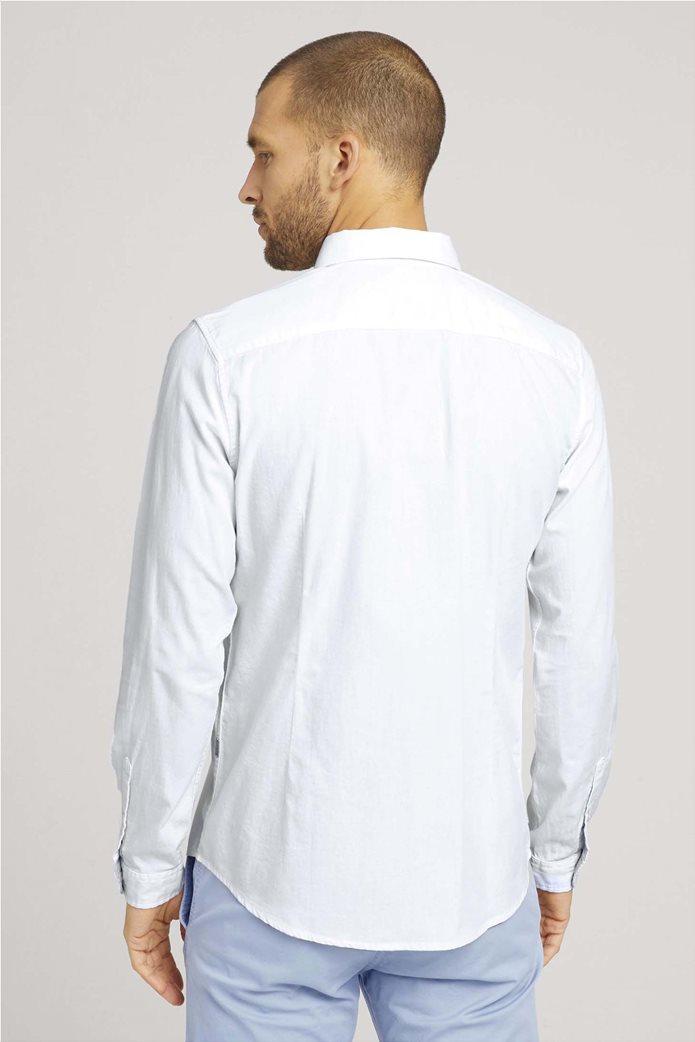Tom Tailor ανδρικό πουκάμισο μονόχρωμο Slim Fit Γαλάζιο 2