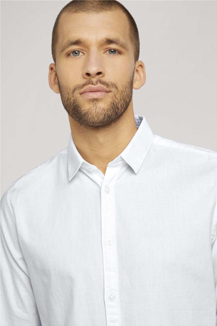 Tom Tailor ανδρικό πουκάμισο μονόχρωμο Slim Fit Γαλάζιο 3