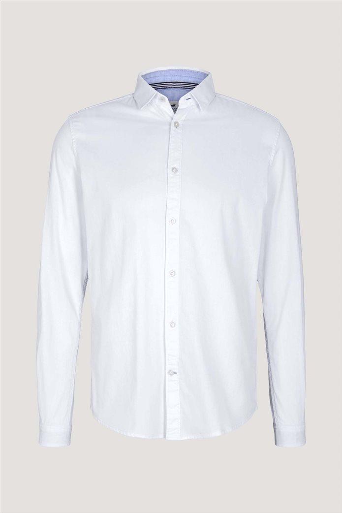 Tom Tailor ανδρικό πουκάμισο μονόχρωμο Slim Fit Γαλάζιο 4