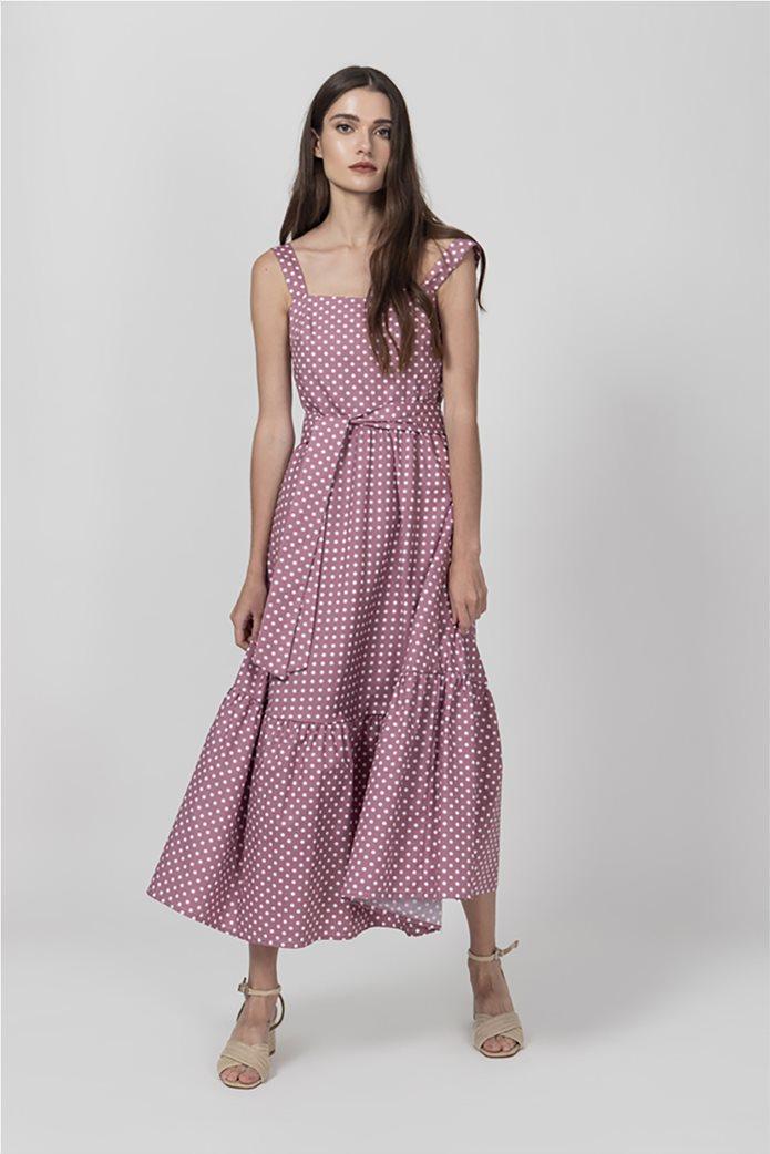 Helmi γυναικείο midi φόρεμα πουά Ροζ 0