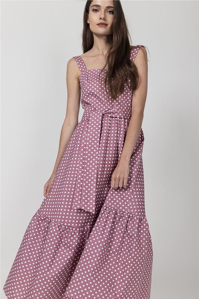 Helmi γυναικείο midi φόρεμα πουά Ροζ 1