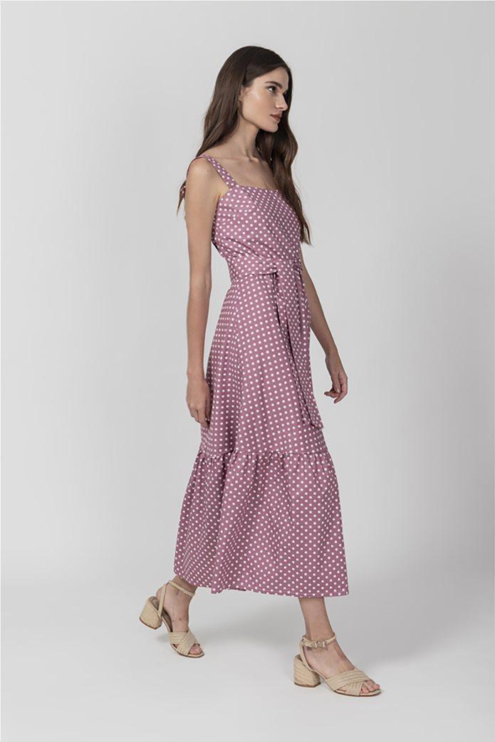 Helmi γυναικείο midi φόρεμα πουά Ροζ 2
