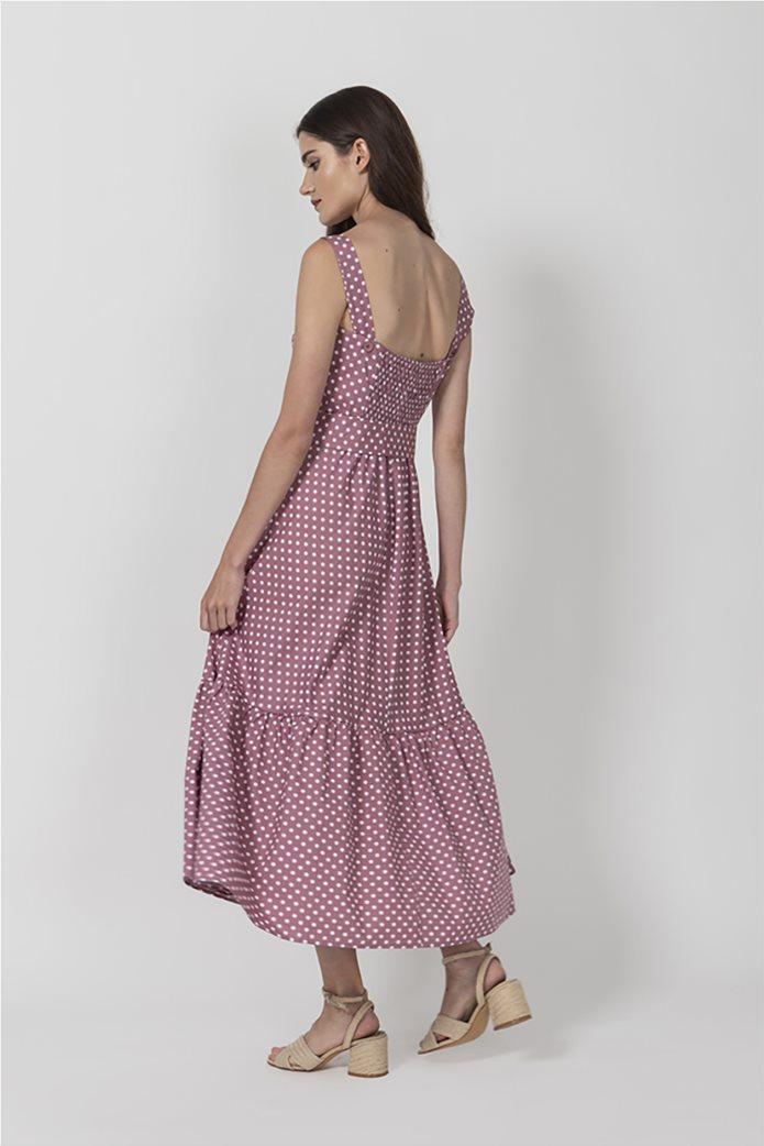 Helmi γυναικείο midi φόρεμα πουά Ροζ 3