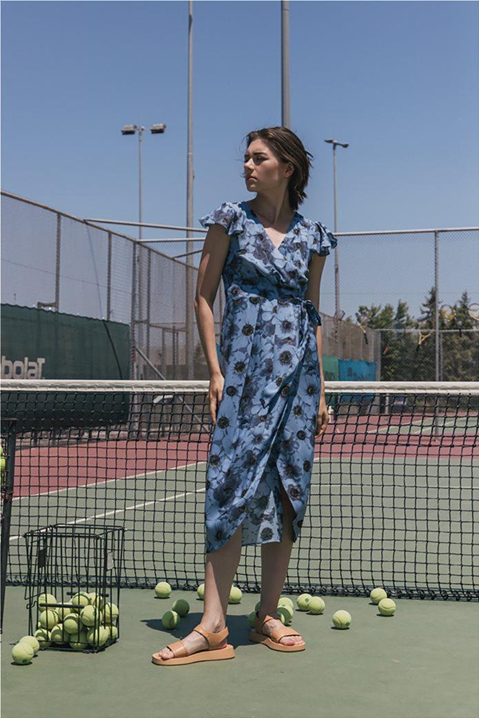 Helmi γυναικείο midi φόρεμα κρουαζέ με all-over floral print Γαλάζιο 0