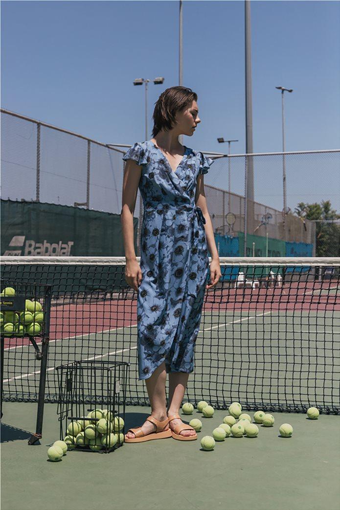 Helmi γυναικείο midi φόρεμα κρουαζέ με all-over floral print Γαλάζιο 1