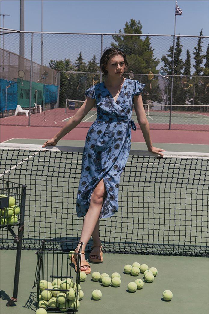 Helmi γυναικείο midi φόρεμα κρουαζέ με all-over floral print Γαλάζιο 2