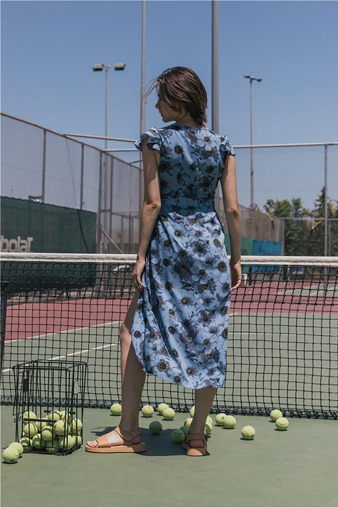 Helmi γυναικείο midi φόρεμα κρουαζέ με all-over floral print Γαλάζιο 3