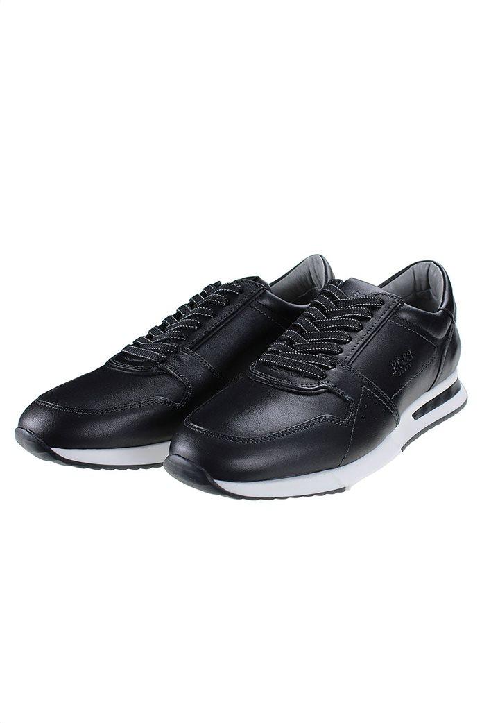 Boss Shoes ανδρικά δερμάτινα sneakers με ανάγλυφο λογότυπο 1