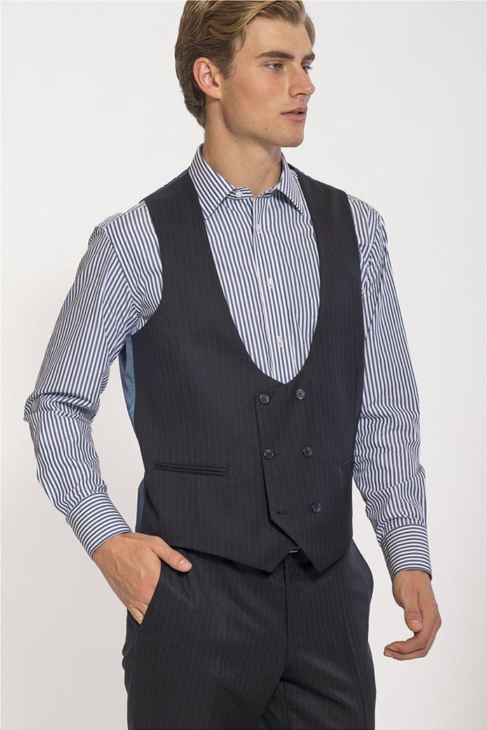 Mauro Boano ανδρικό κοστούμι 3 κομματιών slim fit ριγέ 2