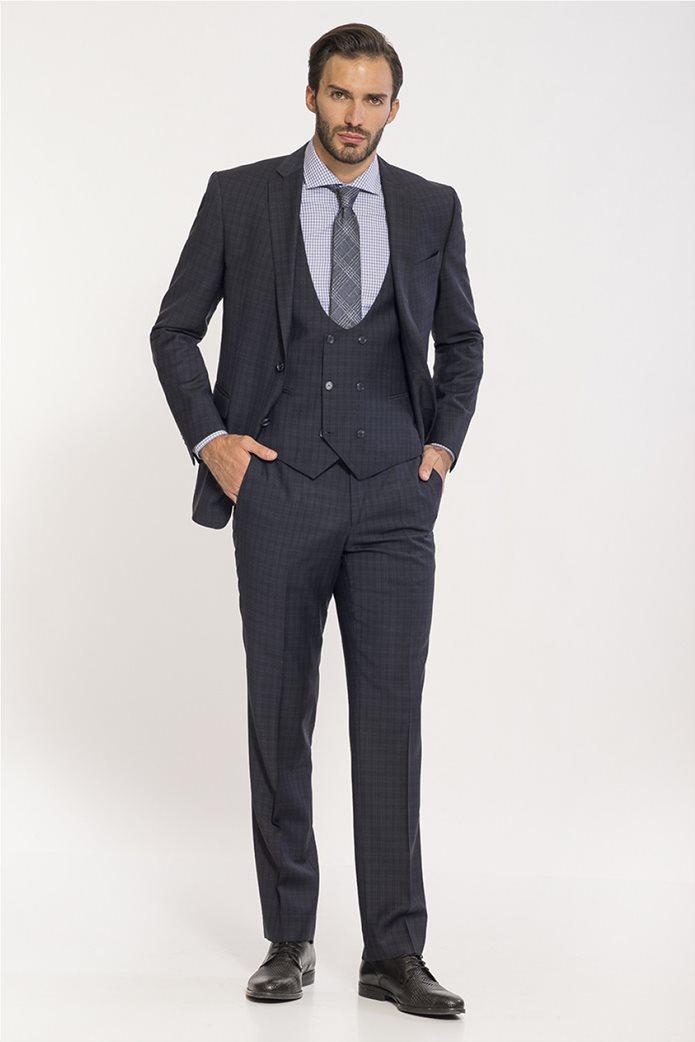 Mauro Boano ανδρικό κοστούμι 3 κομματιών slim fit καρό 0