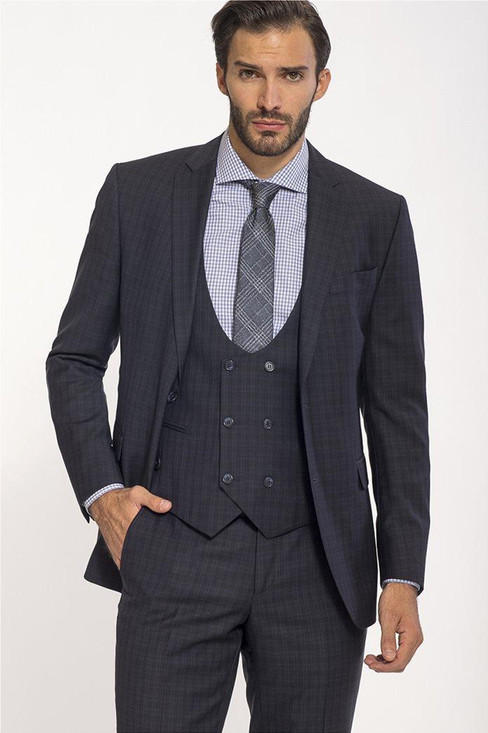 Mauro Boano ανδρικό κοστούμι 3 κομματιών slim fit καρό 1