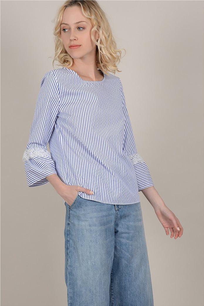 Molly Bracken  γυναικεία ριγέ μπλούζα με δαντέλα 0
