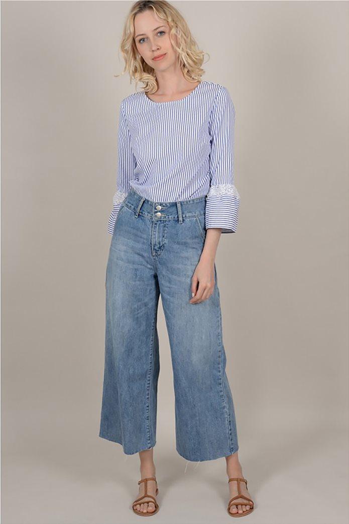 Molly Bracken  γυναικεία ριγέ μπλούζα με δαντέλα 1