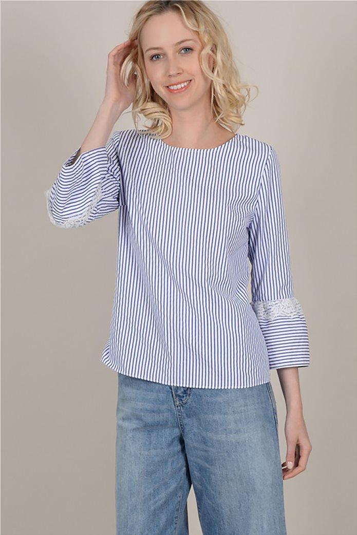 Molly Bracken  γυναικεία ριγέ μπλούζα με δαντέλα 2