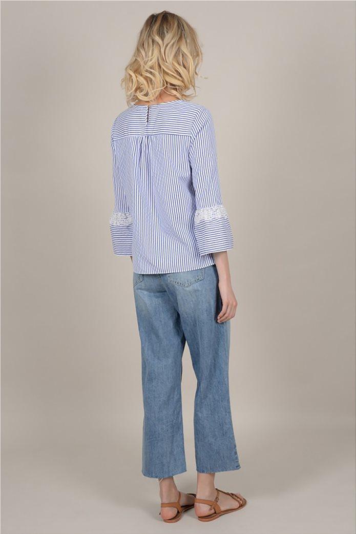 Molly Bracken  γυναικεία ριγέ μπλούζα με δαντέλα 3