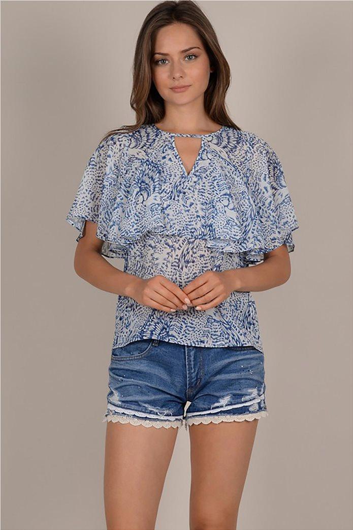 Molly Bracken γυναικεία μπλούζα με print και βολάν 2