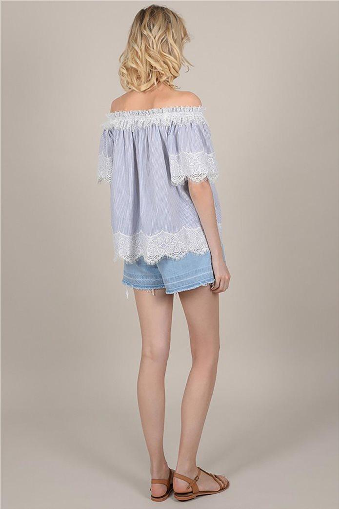 Molly Bracken γυναικεία ριγέ μπλούζα με carmen λαιμόκοψη και δαντέλα 3