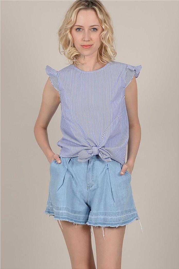 Molly Bracken γυναικεία ριγέ μπλούζα με φιόγκο 0