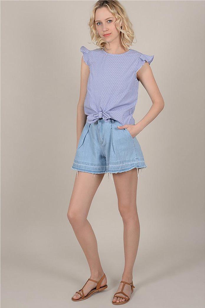 Molly Bracken γυναικεία ριγέ μπλούζα με φιόγκο 1