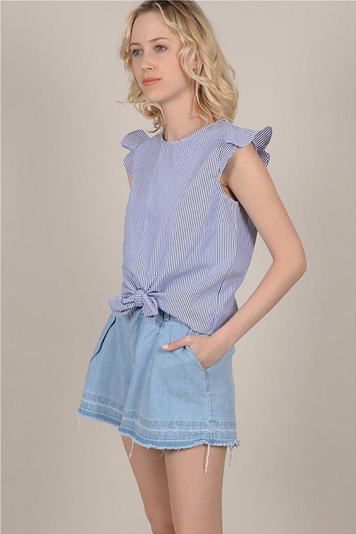 Molly Bracken γυναικεία ριγέ μπλούζα με φιόγκο 2