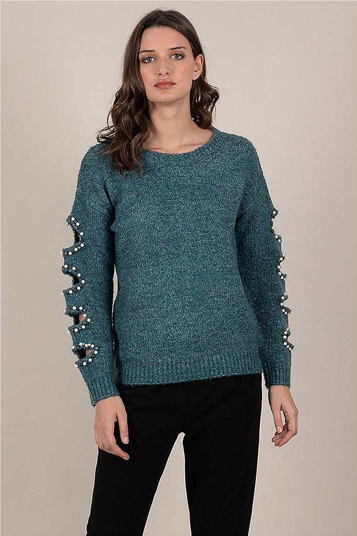 Molly Bracken γυναικεία πλεκτή μπλούζα με ανοίγματα στα μανίκια με πέρλες 0