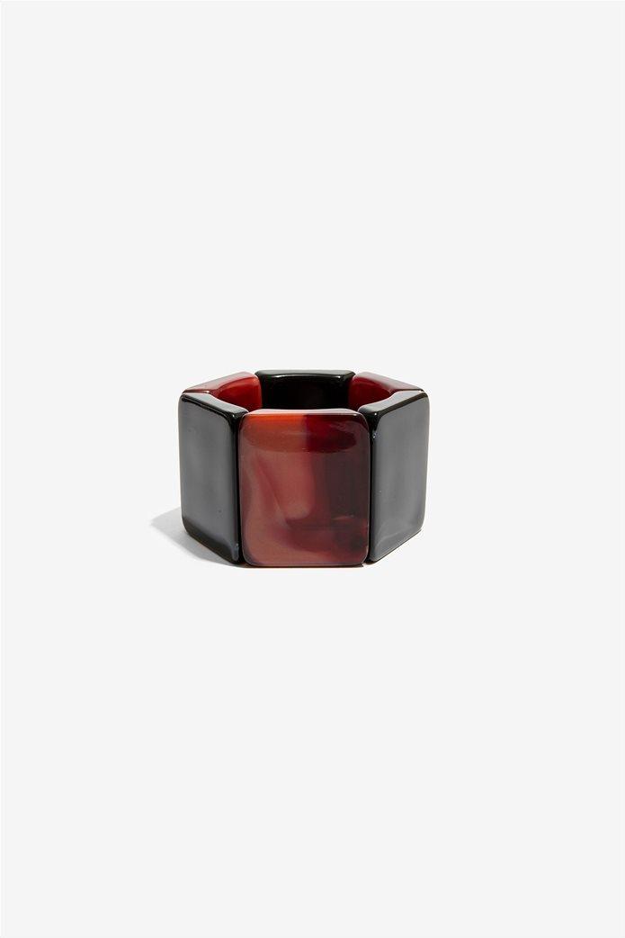 Νali γυναικείο ελαστικό βραχιόλι φαρδύ με πέτρες μπορντό/μαύρο 0