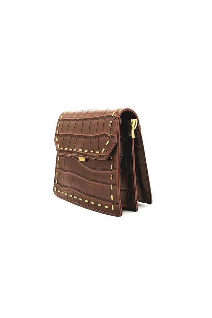Nalì γυναικεία τσάντα crossbody με croco print και μεταλλικές λεπτομέρειες Καφέ 2