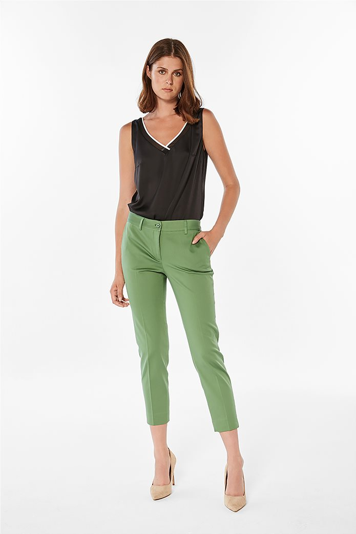 Bella P γυναικείο παντελόνι cropped μονόχρωμο Πράσινο 0