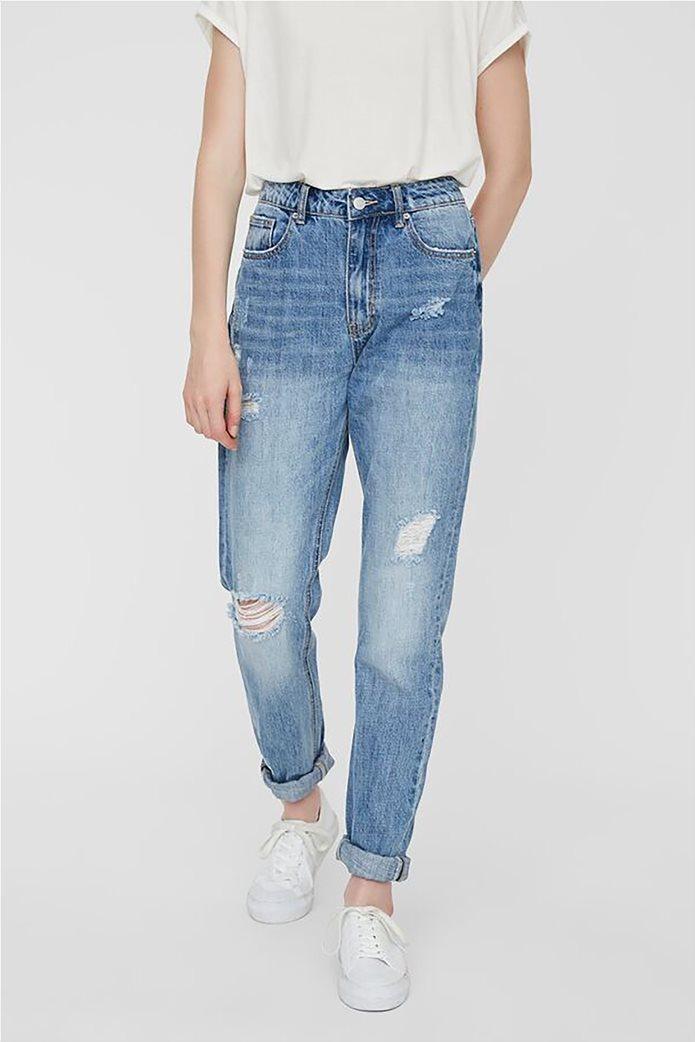 Vero Moda γυναικείο mom τζην παντελόνι με φθορές 0