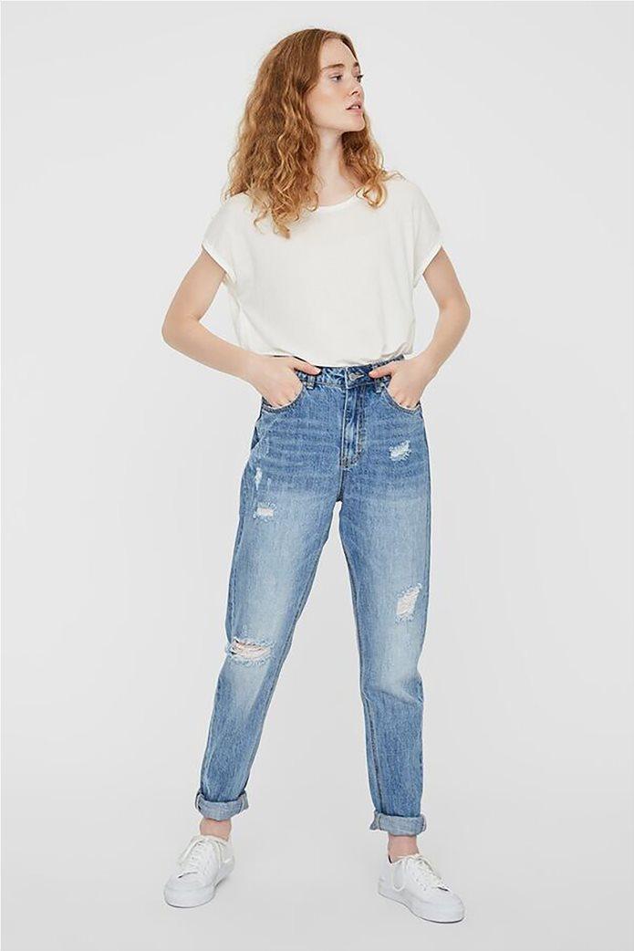 Vero Moda γυναικείο mom τζην παντελόνι με φθορές 2