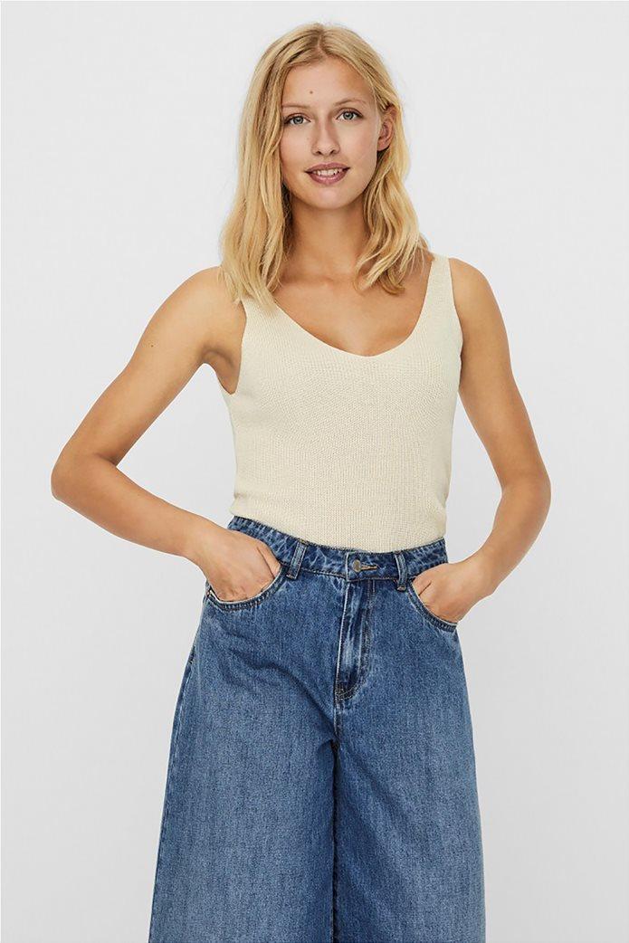 Vero Moda γυναικεία μπλούζα αμάνικη με ribbed πλέξη 0