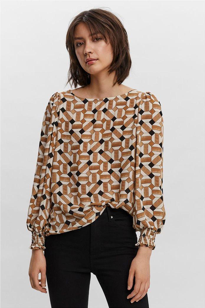 Vero Moda γυναικεία μπλούζα με all-over print Καφέ 0