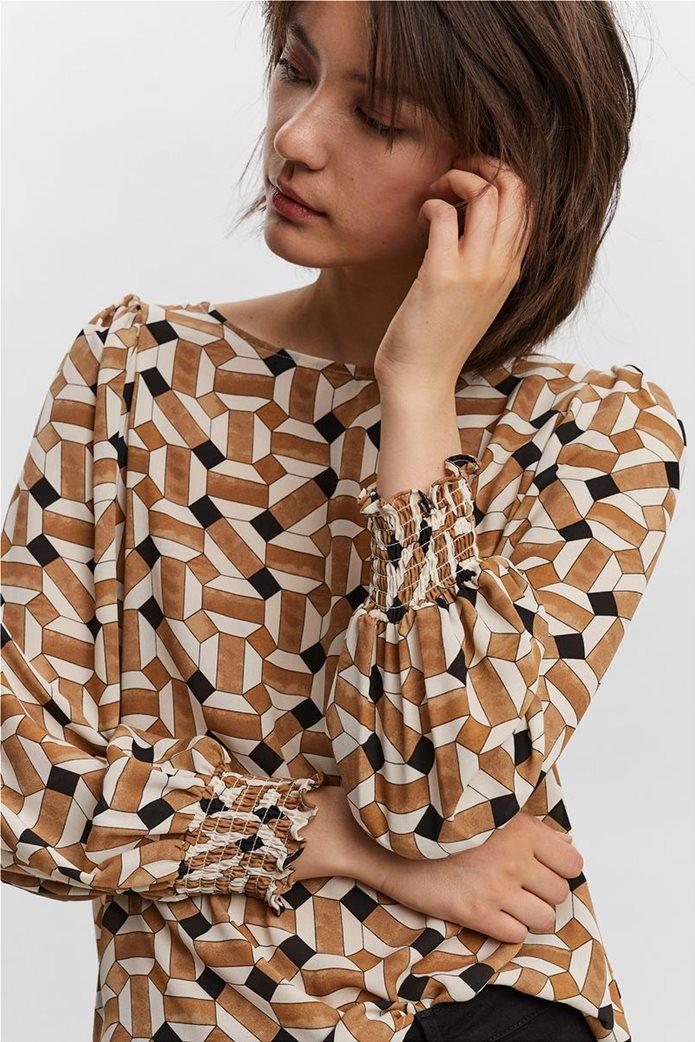 Vero Moda γυναικεία μπλούζα με all-over print Καφέ 1