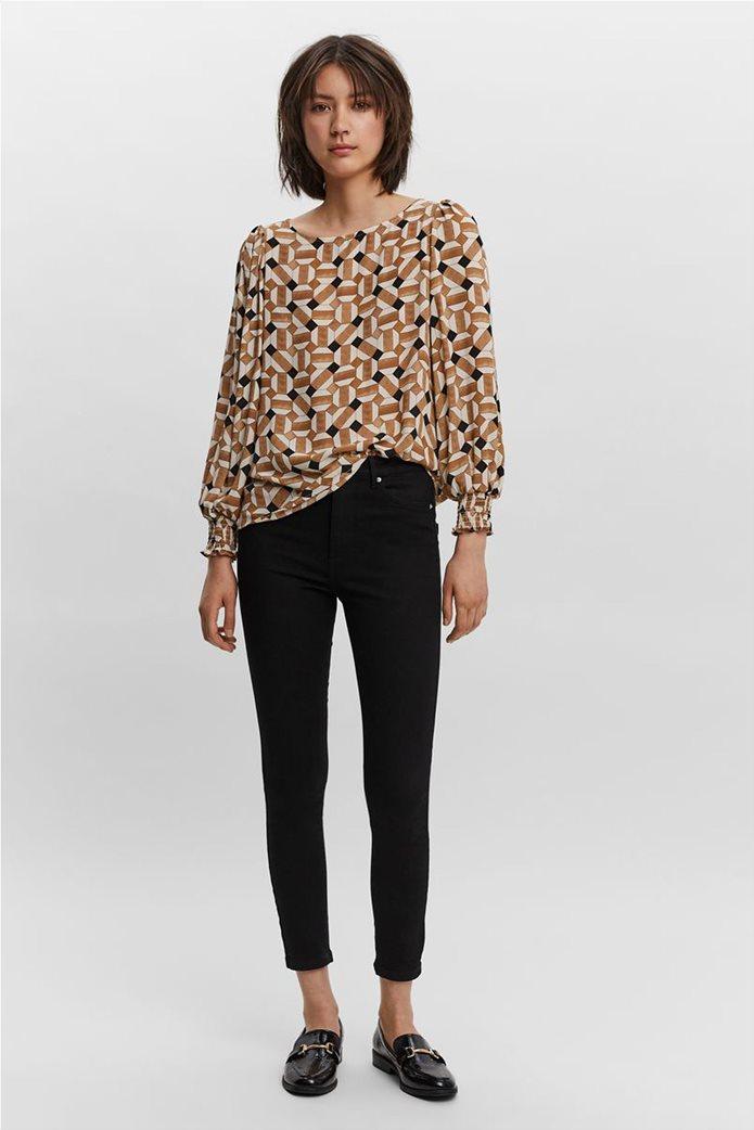 Vero Moda γυναικεία μπλούζα με all-over print Καφέ 2