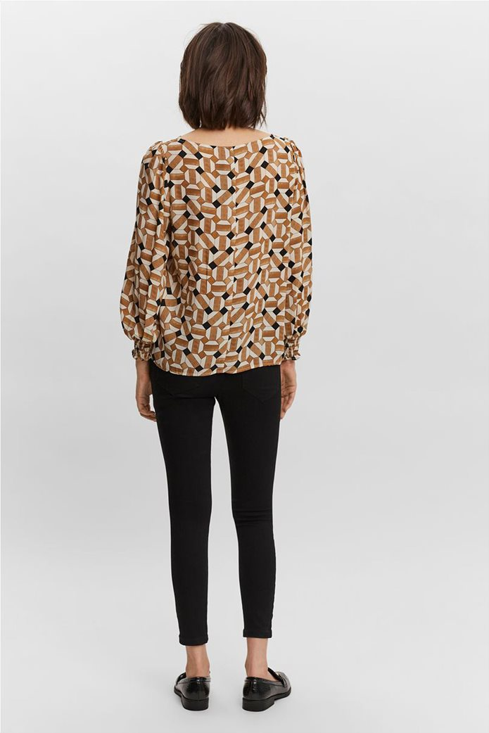 Vero Moda γυναικεία μπλούζα με all-over print Καφέ 3