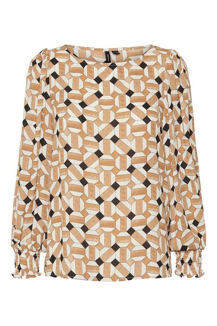 Vero Moda γυναικεία μπλούζα με all-over print Καφέ 4