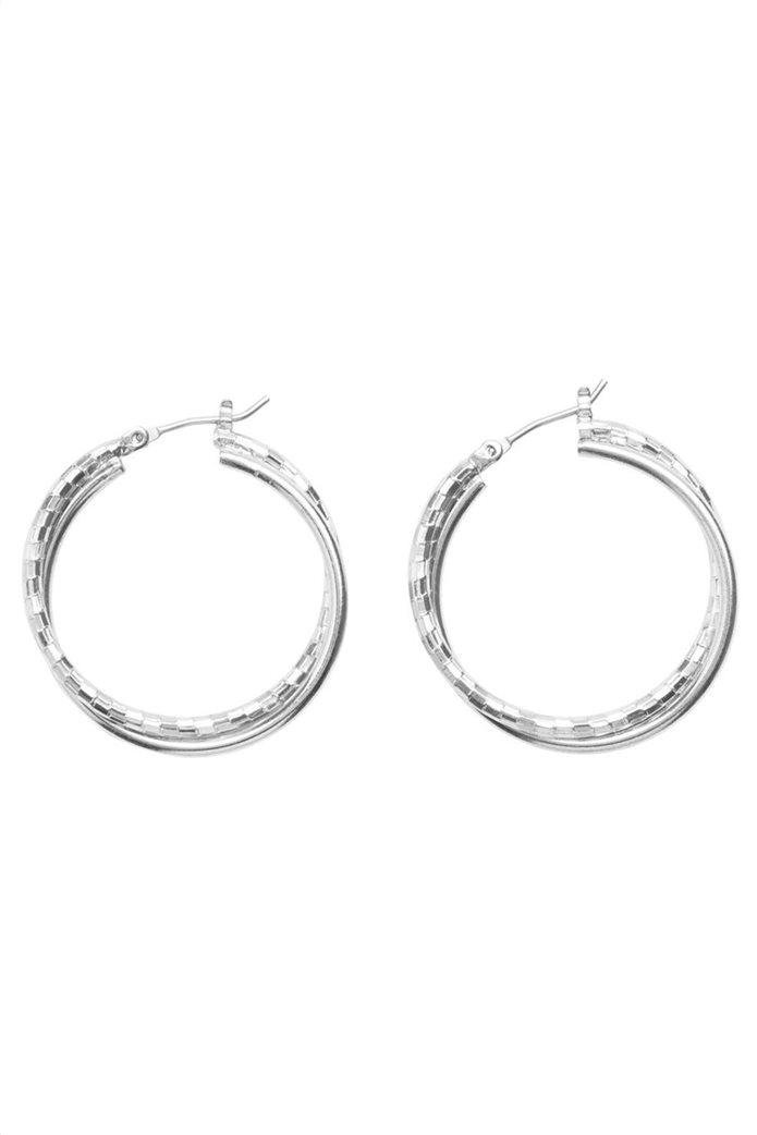 PIECES γυναικεία σκουλαρίκια κρίκοι με διπλό στεφάνι 1