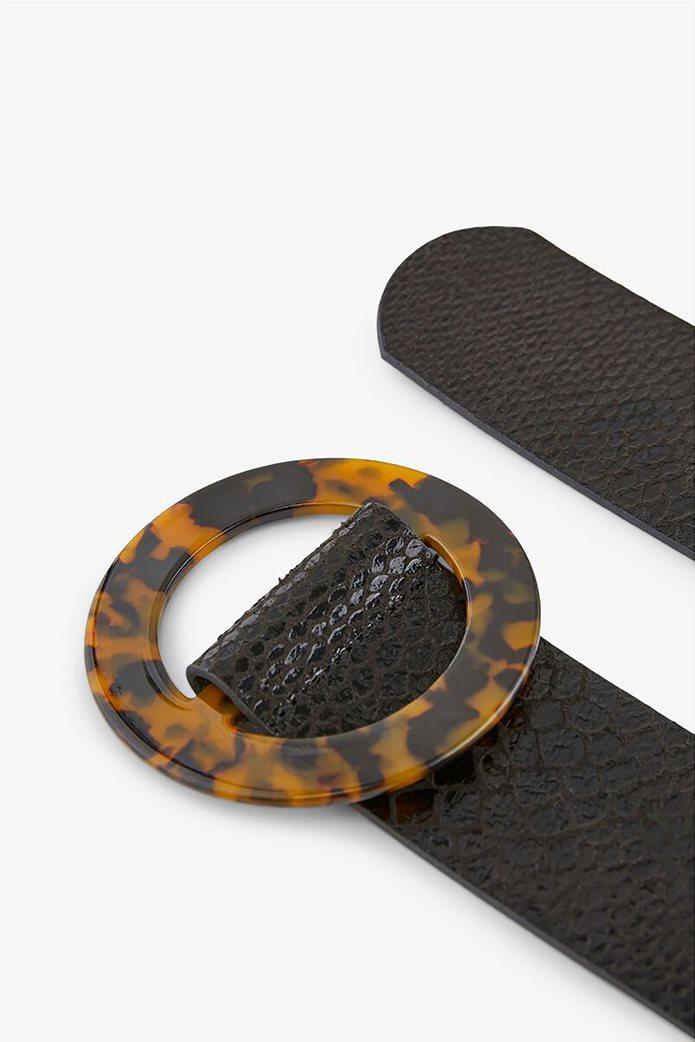 Pieces γυναικεία ζώνη με snakeskin print και στρογγυλή αγκράφα 1
