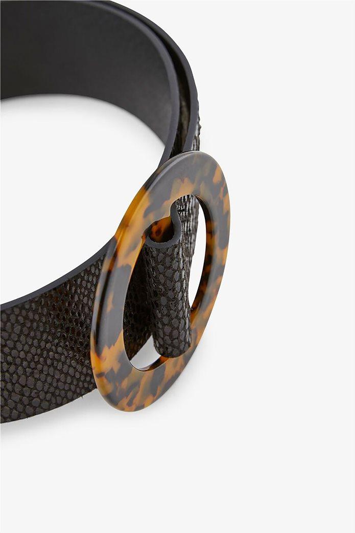 Pieces γυναικεία ζώνη με snakeskin print και στρογγυλή αγκράφα 2