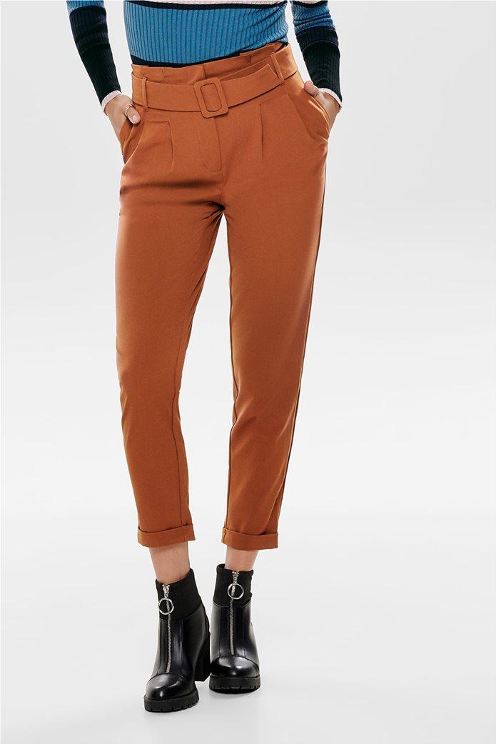 ONLY γυναικείο παντελόνι ίσια γραμμή Paper bag με ζώνη 1