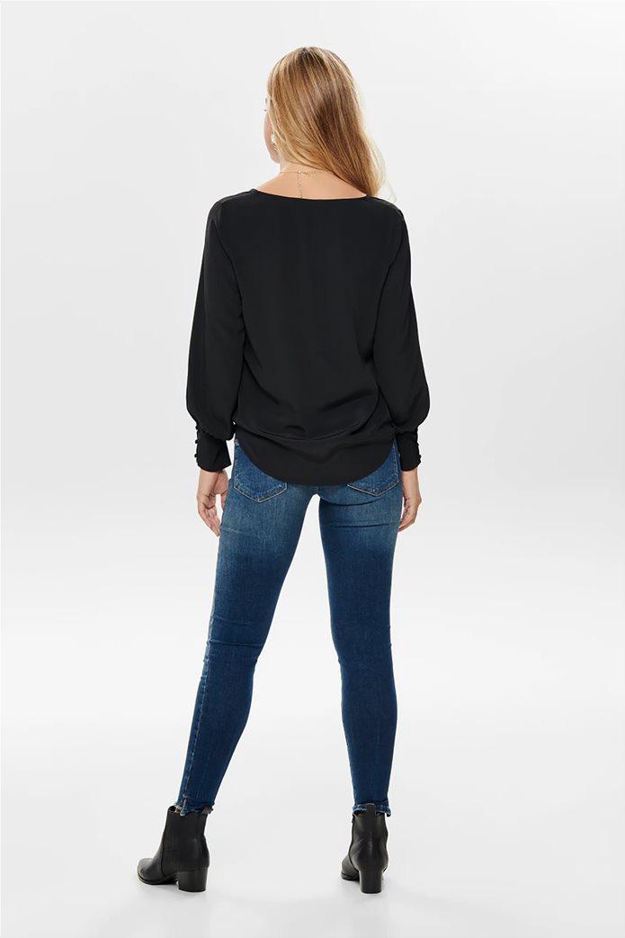 ONLY γυναικεία μακρυμάνικη μπλούζα με λαιμόκοψη V 2