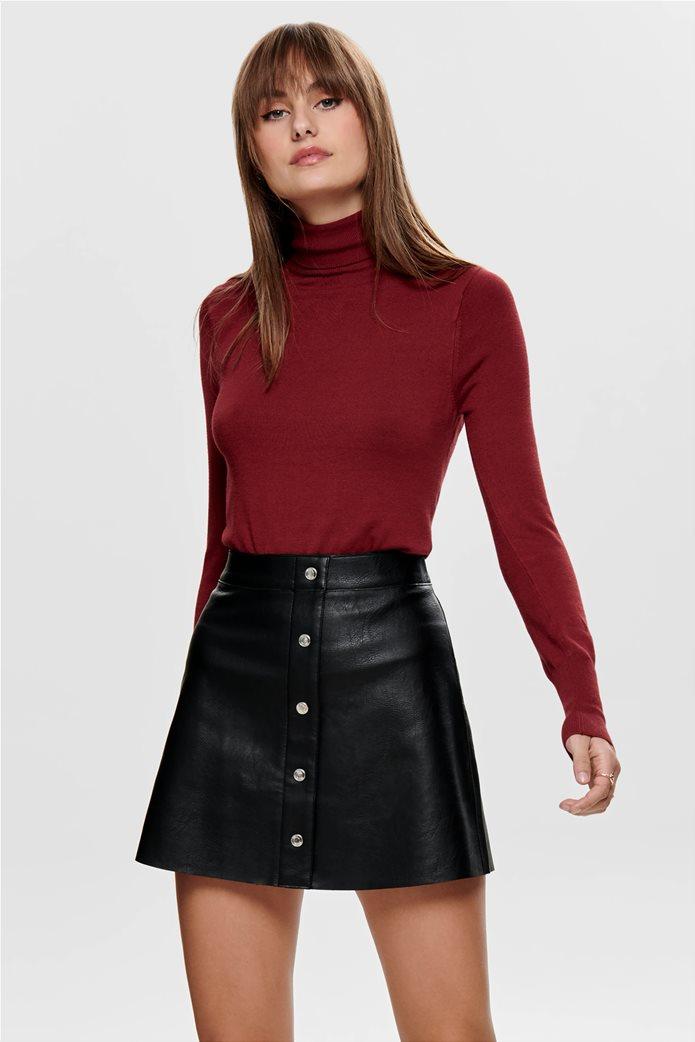 ONLY γυναικεία πλεκτή μπλούζα μονόχρωμη ζιβάγκο 0