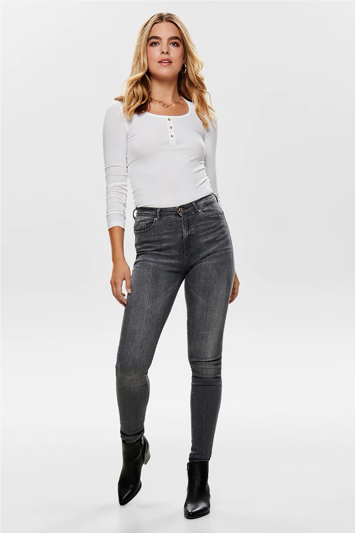 ONLY γυναικεία μπλούζα με στρογγυλή λαιμόκοψη και κουμπιά 1