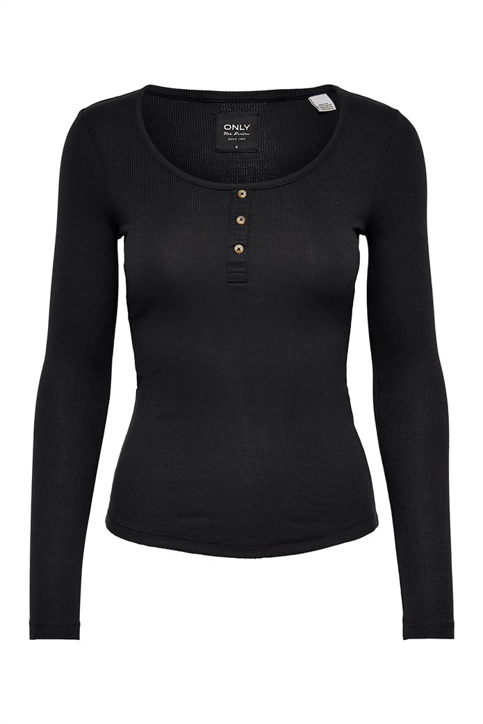 ONLY γυναικεία μπλούζα με στρογγυλή λαιμόκοψη και κουμπιά 3