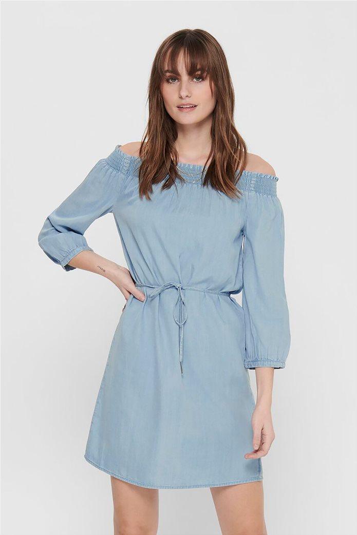 ONLY γυναικείο denim φόρεμα με carmen λαιμόκοψη Μπλε Ανοιχτό 0