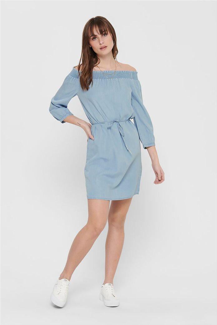 ONLY γυναικείο denim φόρεμα με carmen λαιμόκοψη Μπλε Ανοιχτό 1